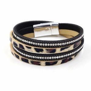 Leopard Print Layer Wrap Bracelet